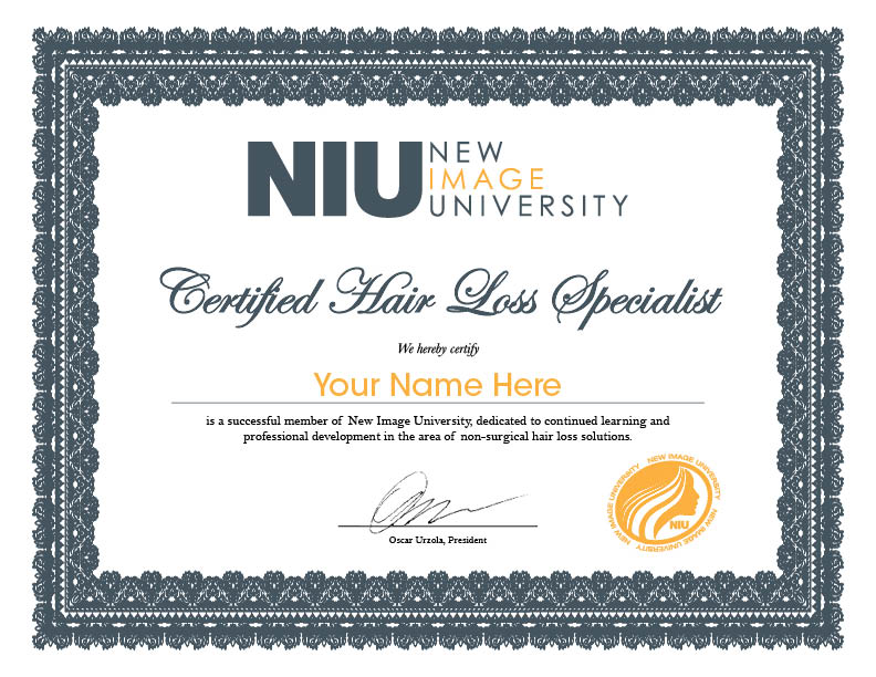 Certified Hair Loss Specialist New Image University Niu